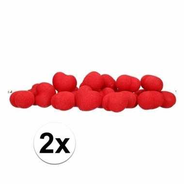 Valentijn 2x feestverlichting rode hartjes 20 lichtjes kado
