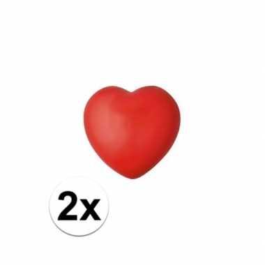Valentijn 2x hartje stressbal rood 7 cm kado
