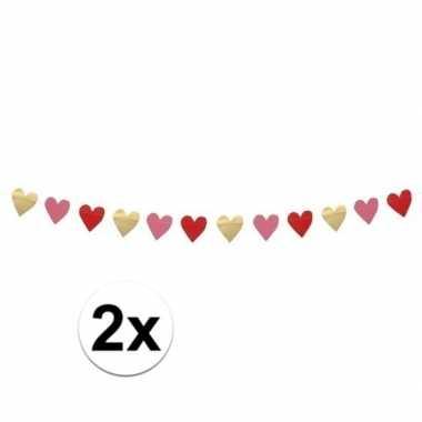 Valentijn 2x hartjes slinger rood, roze en goud 2 meter kado