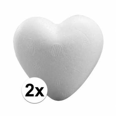 Valentijn 2x piepschuim harten 15 cm kado
