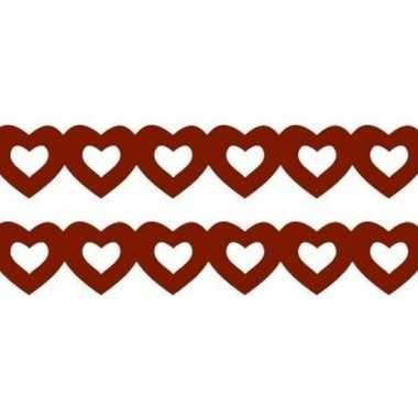Valentijn 2x stuks rode hartjes slingers van papier kado