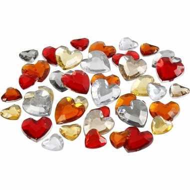 Valentijn 2x zakje hartjes strass steentjes rood mix totaal 720 stuks