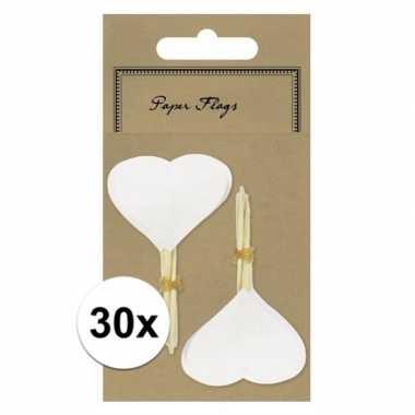 Valentijn 30x blanco cocktailprikkers hart kado