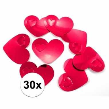 Valentijn 30x mega confetti rode hartjes kado