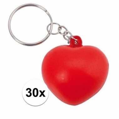 Valentijn 30x stressbal sleutelhanger hartje 3,6 cm kado