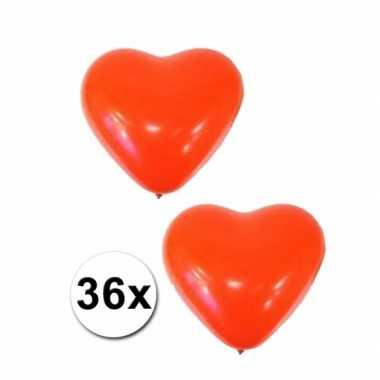 Valentijn 36x hartjes ballonnen rood kado