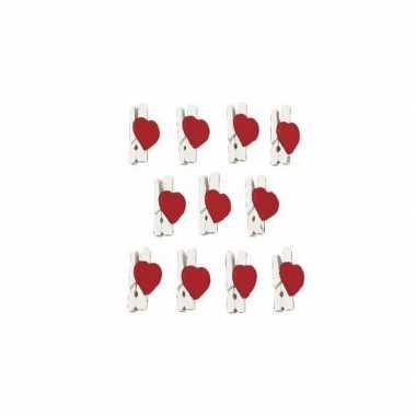 Valentijn 36x stuks hartjes mini knijpertjes 2,5 cm kado