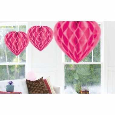 Valentijn 3x hangende hartje deco bollen roze 30 cm kado