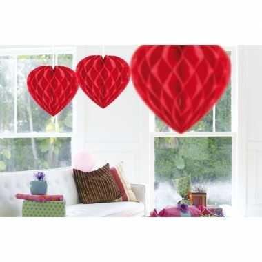 Valentijn 3x hangende hartjes deco bollen rood 30 cm kado