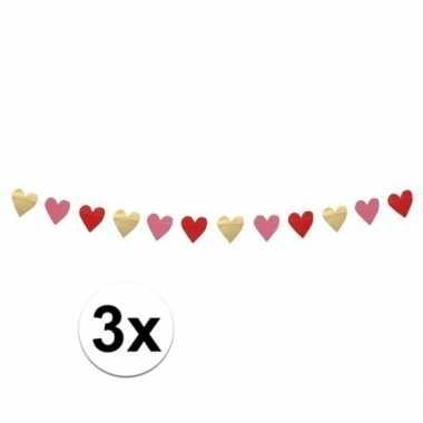 Valentijn 3x hartjes slinger rood, roze en goud 2 meter kado