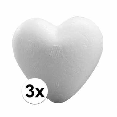 Valentijn 3x piepschuim harten 12 cm kado