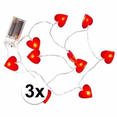 Valentijn 3x rode hartjes lichtsnoer 120 cm kado