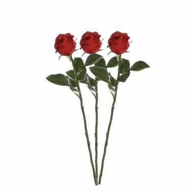 Valentijn 3x rode rozen kunstbloemen 45 cm kado