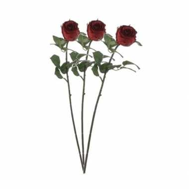 Valentijn 3x rode rozen kunstbloemen 69 cm kado