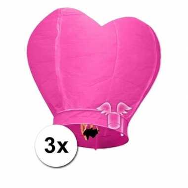 Valentijn 3x wensballon roze hart 100 cm kado