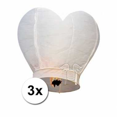 Valentijn 3x wensballon wit hart 100 cm kado