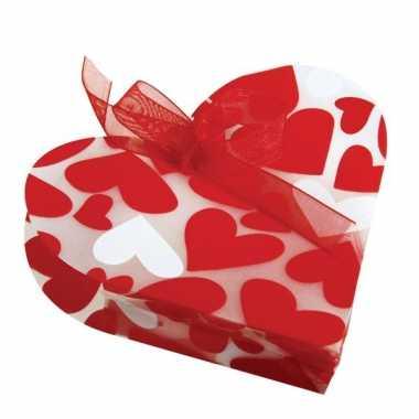 Valentijn 4 geschenkzakjes met hartjes kado