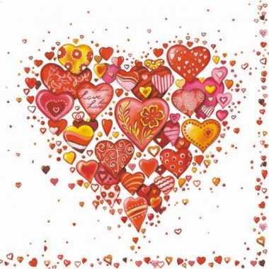 Valentijn 40x hartjes print servetten 33 x 33 cm kado