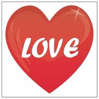Valentijn 5x love hartje sticker 10,5 cm kado