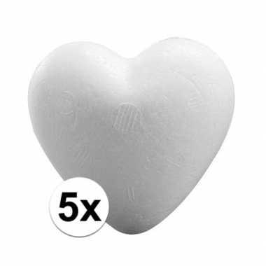 Valentijn 5x piepschuim harten 12 cm kado