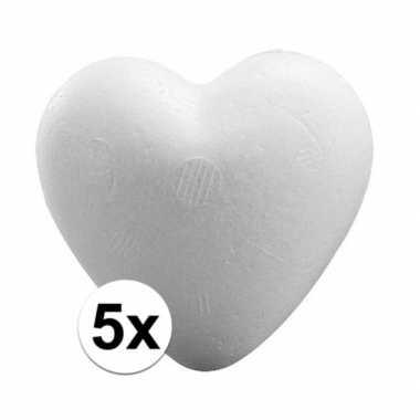 Valentijn 5x piepschuim hartjes 9 cm kado