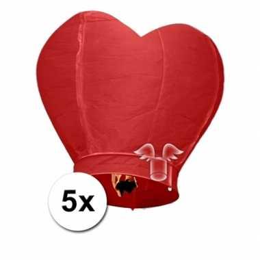 Valentijn 5x wensballon rood hart 100 cm kado