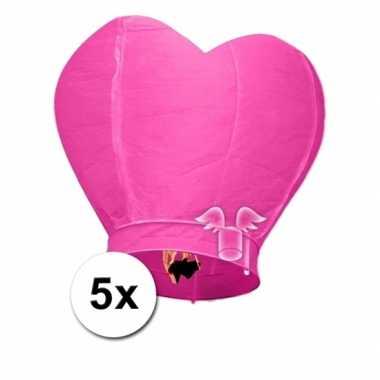 Valentijn 5x wensballon roze hart 100 cm kado