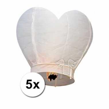 Valentijn 5x wensballon wit hart 100 cm kado