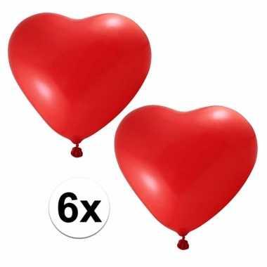 Valentijn 6x hartjes ballonnen rood kado