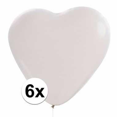 Valentijn 6x hartjes ballonnen wit kado