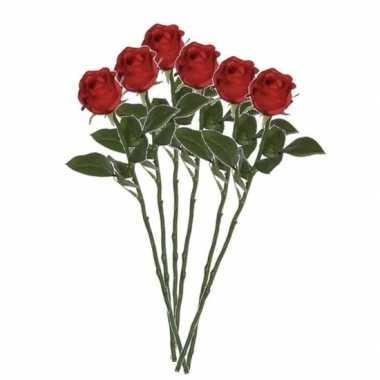 Valentijn 6x rode rozen kunstbloemen 45 cm kado
