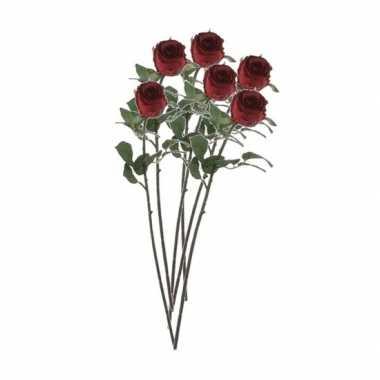 Valentijn 6x rode rozen kunstbloemen 69 cm kado