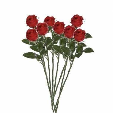 Valentijn 8x rode rozen kunstbloemen 45 cm kado