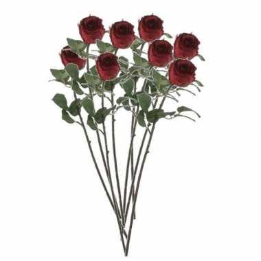 Valentijn 8x rode rozen kunstbloemen 69 cm kado