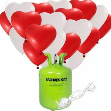 Valentijn / bruiloft pakket 48 hartjes ballonnen met helium tank kado