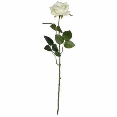 Valentijn creme roos kunstbloem 66 cm kado