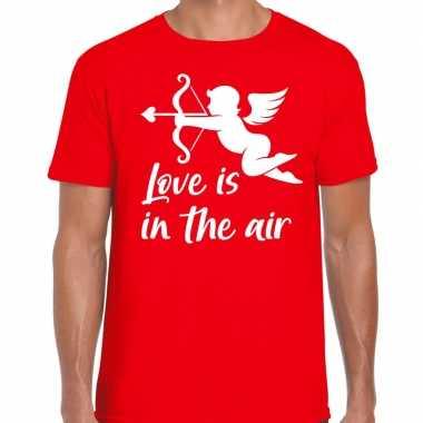 Valentijn/cupido love is in the air t shirt rood voor heren kado