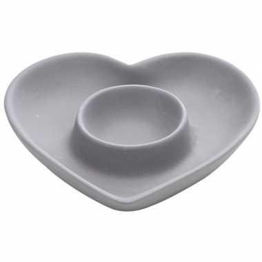 Valentijn eierdop grijs hart 12 cm kado
