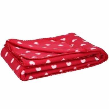 Valentijn fleece plaid deken met hartjes 120 x 160 cm kado