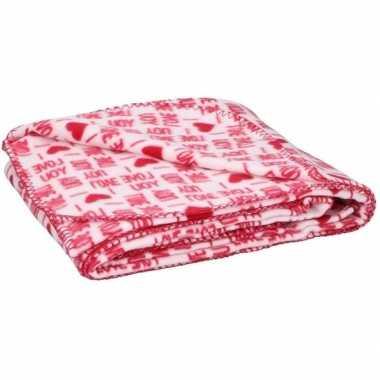 Valentijn fleece plaid deken wit met rode hartjes 120 x 160 cm kado