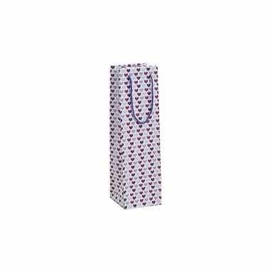 Valentijn flessen kadotasje met paarse hartjes 10 x 35 cm