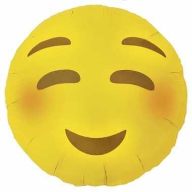 Valentijn folie ballon bloos emoticon 46 cm kado