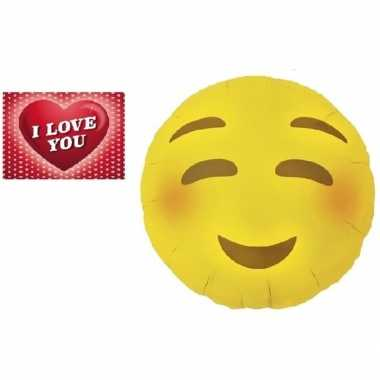 Valentijn folie ballon bloos emoticon 46 cm met valentijnskaart kado