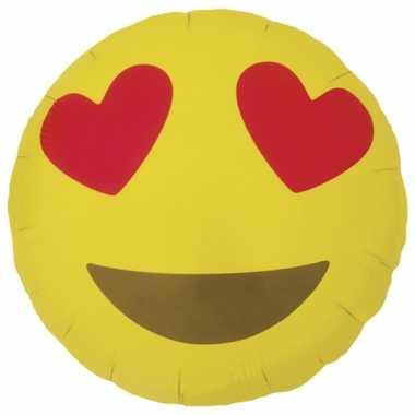 Valentijn folie ballon hartjesogen emoticon 46 cm kado