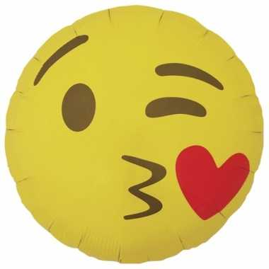 Valentijn folie ballon kusje emoticon 46 cm kado