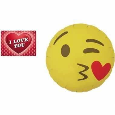 Valentijn folie ballon kusje emoticon 46 cm met valentijnskaart kado