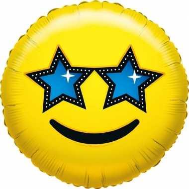 Valentijn folie ballon ster smiley 35 cm kado