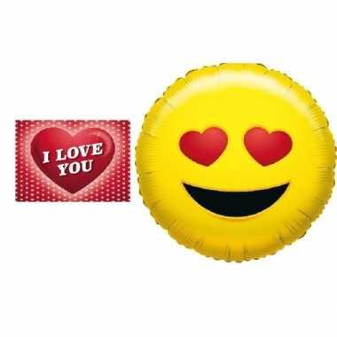 Valentijn folie ballon verliefde smiley 35 cm met valentijnskaart kad