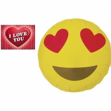 Valentijn folie ballon verliefde smiley 46 cm met valentijnskaart kad