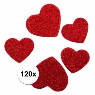 Valentijn glitter hartjes stickertjes 120 stuks kado